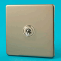 Varilight 1 Gang 10A 1 or 2 Way Dolly Toggle Light Switch Screwless Satin Chrome XDNT1S